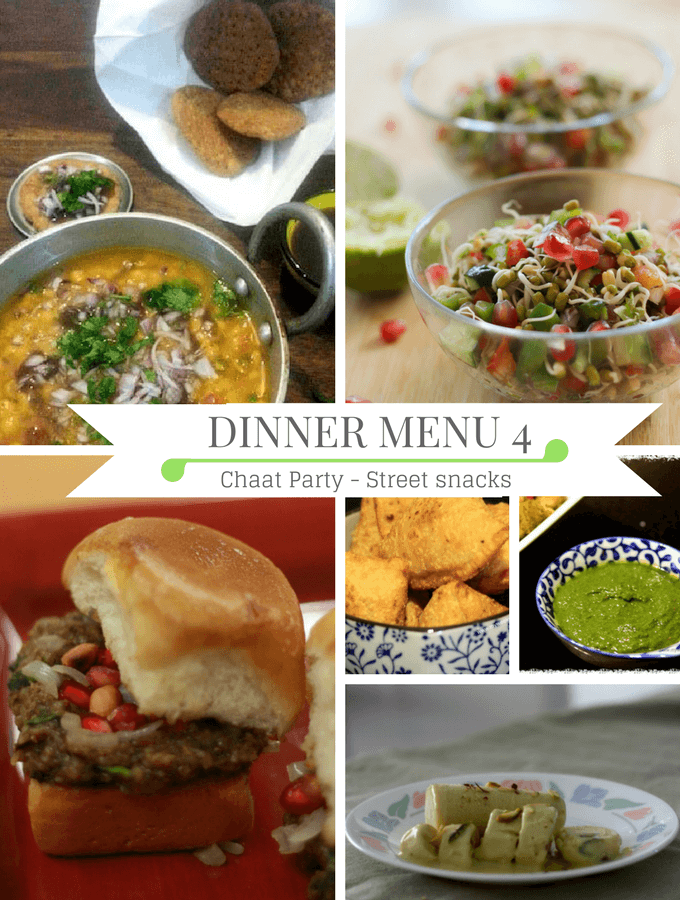 Diwali dinner menu, chaat party dinner ideas, Indian street snack party ideas,