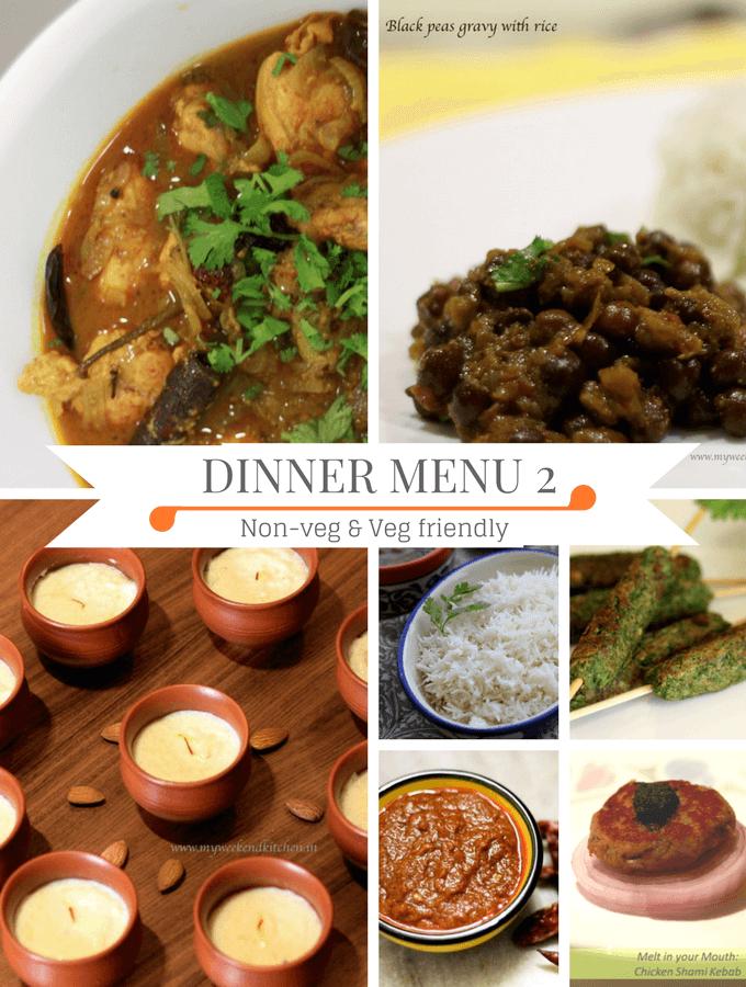 Diwali dinner menu, dinner idea, non-veg and veg friendly dinner idea