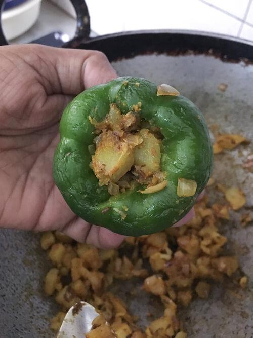 Indian stuffed capsicum recipe, vegan stuffed peppers
