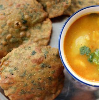 Bajra Methi poori recipe, millet recipes, gluten free bread, Indian bread