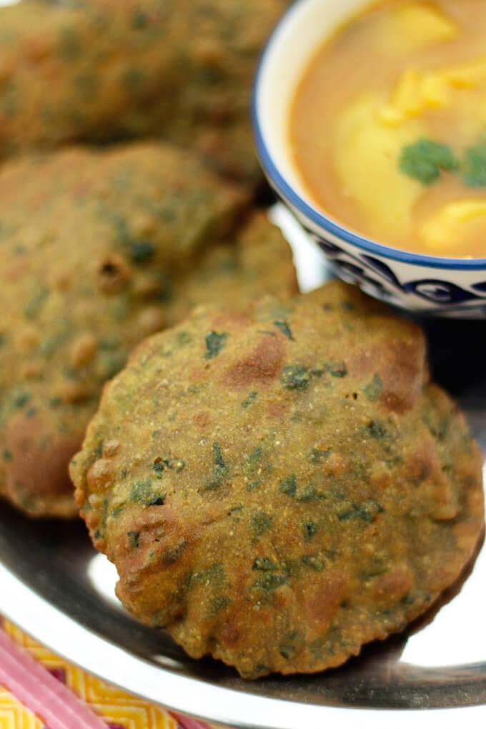 Bajra Methi Puri recipe, bajra recipe, methi recipe