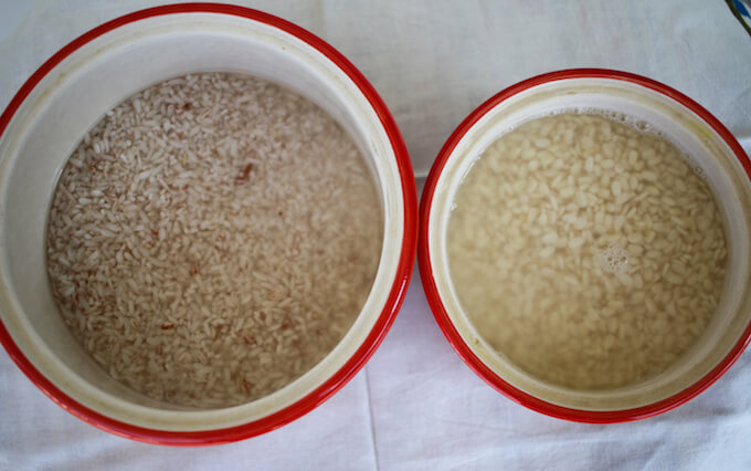 Home-made idli batter made with rice and lentil