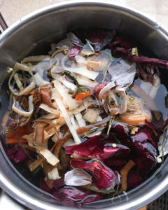Homemade vegetable stock from kitchen scraps