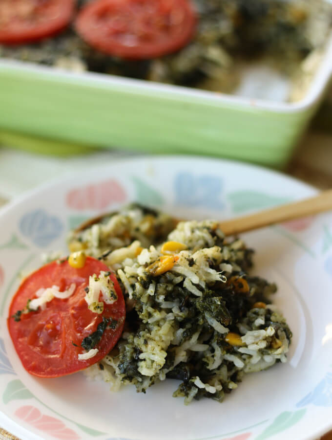 palak corn rice with cheese