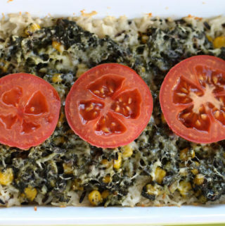 rice casserole with spinach corn and cheddar cheese