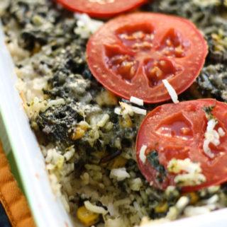 Spinach Corn Rice Casserole