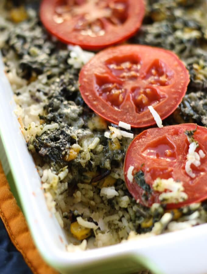 spinach corn rice casserole recipe