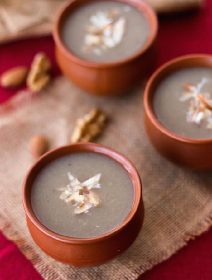 bajra raab recipe, healing drinks for winter, pearl millet drink