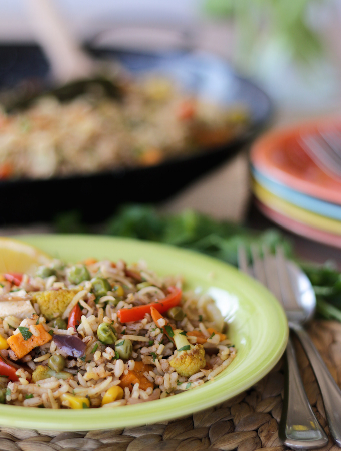 vegan paella recipe with tofu and seasonal vegetables