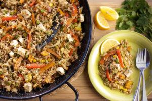 vegetarian paella recipe with tofu, vegan paella recipe