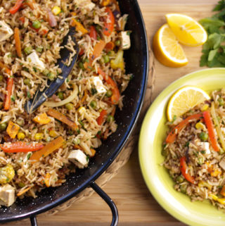vegetarian paella recipe with tofu, vegan paella recipe