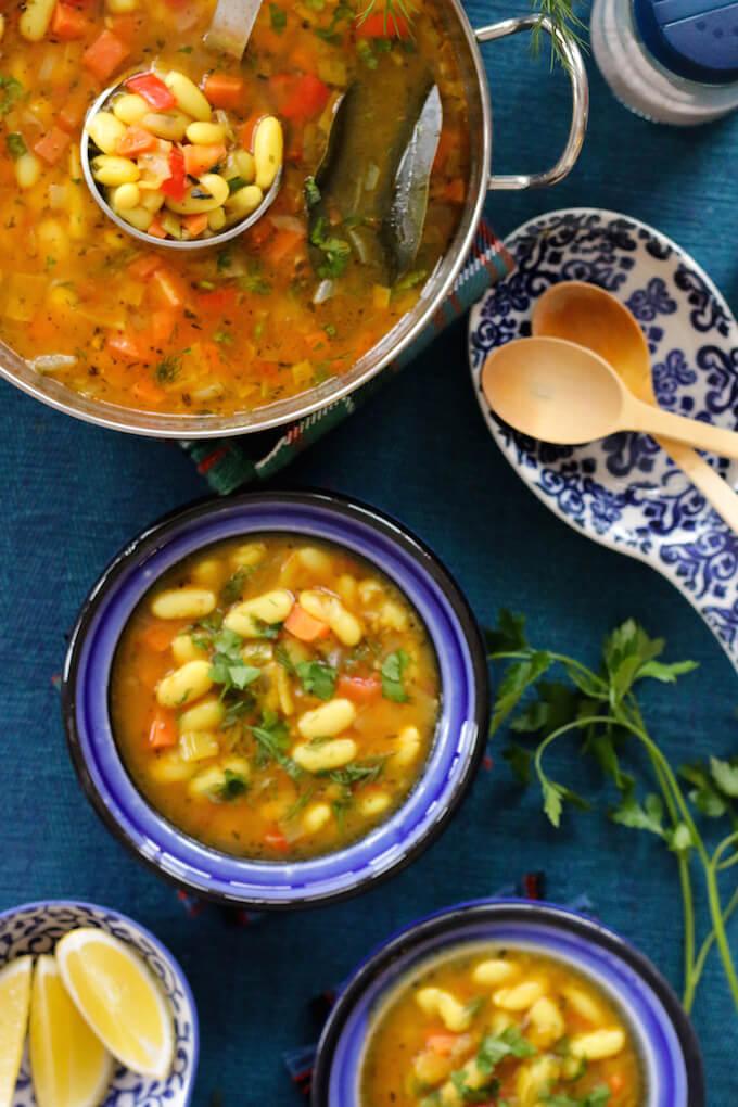 vegan bean soup, Romanian white bean soup recipe
