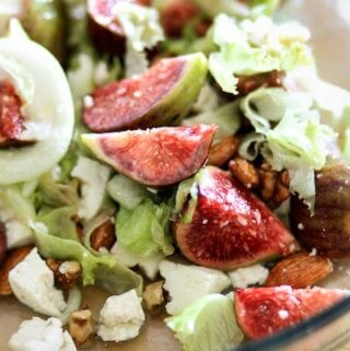 Fresh Figs salad with cheese & caramelized nuts