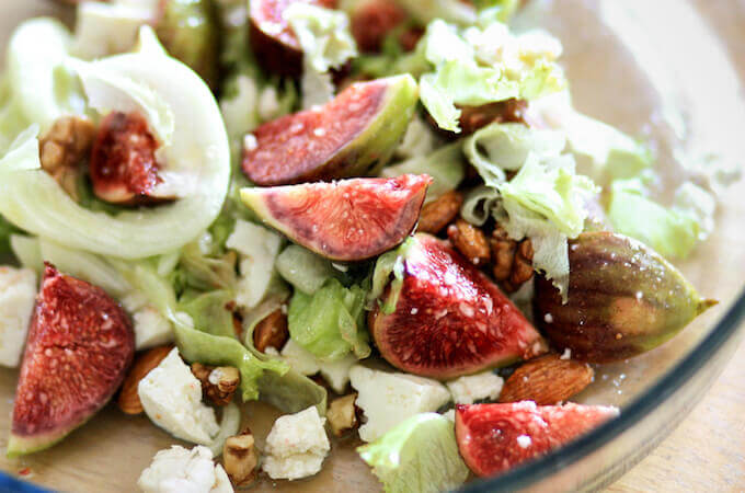 fresh figs salad, fig and cheese salad with caramelised nuts