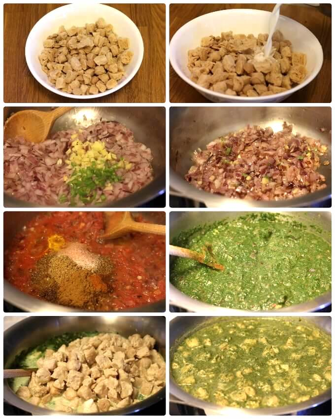 soya chunks spinach curry step by step photos
