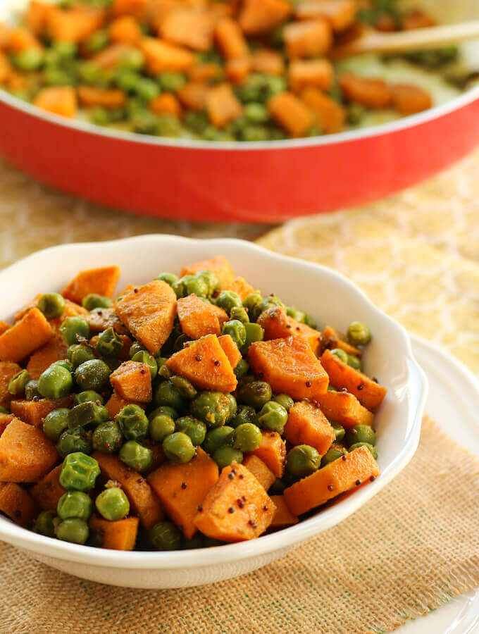 sweet potato recipe, sweet potato and green peas vegetable fry