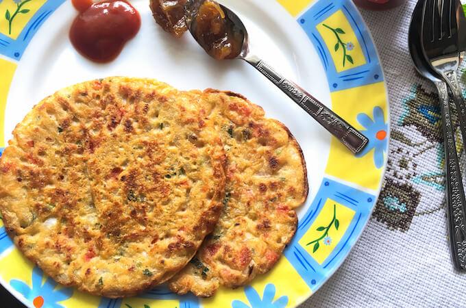 jowar cheela, sorghum flour pancake, vegan omelette