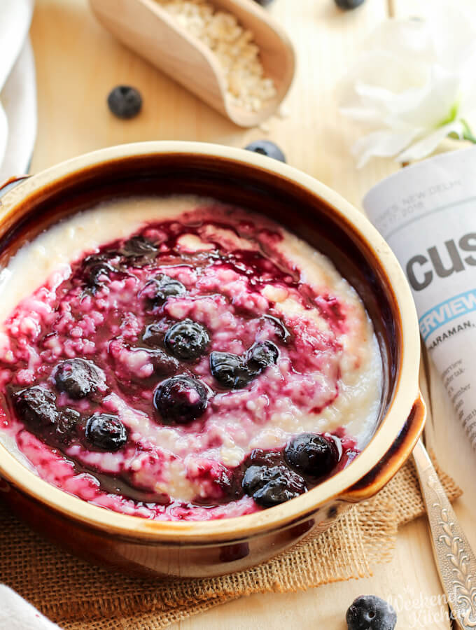 blueberry oatmeal, vegan oats porridge with blueberry