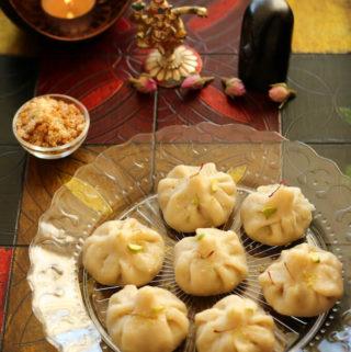 Steamed sweet dumplings, Indian steamed modak recipe, Ukadiche modak