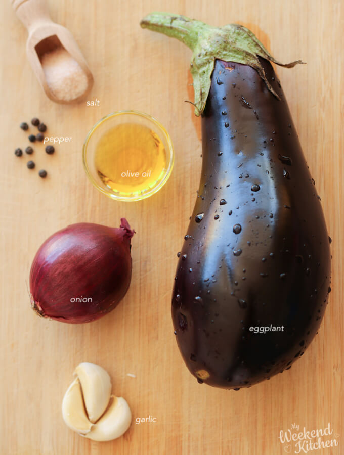 ingredients for roasted eggplant dip recipe