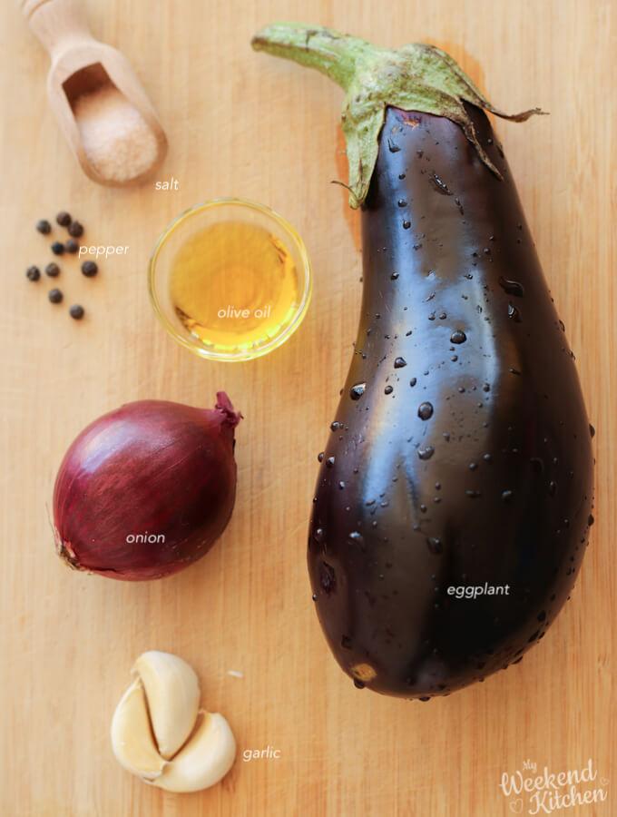 ingredients for roasted eggplant dip recipe