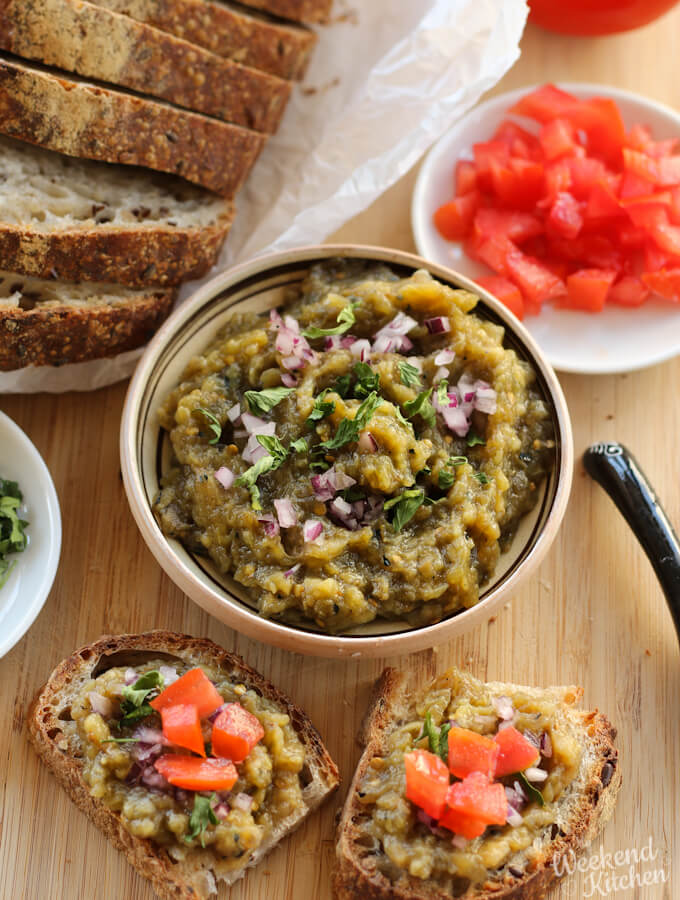 Romanian roasted eggplant dip recipe, salata de vinete