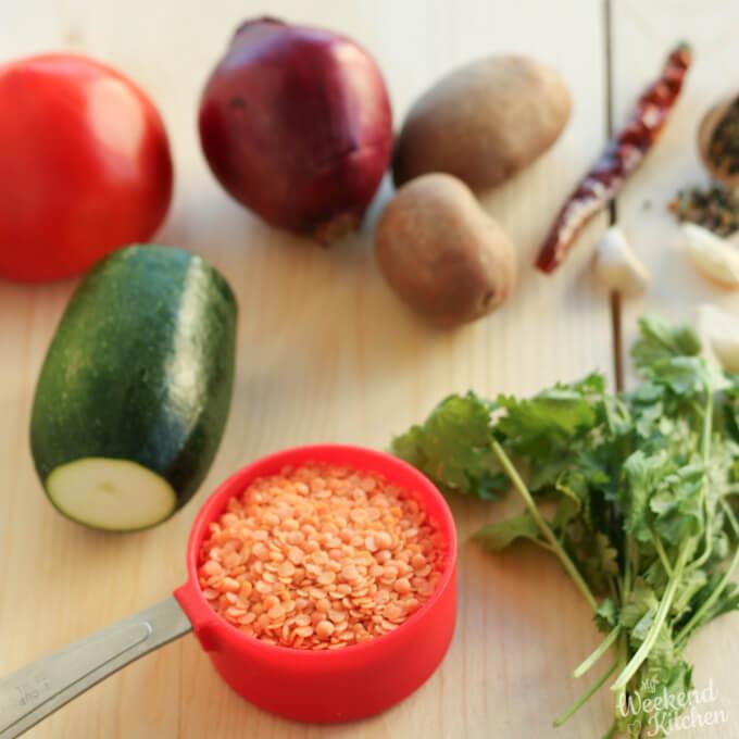 Assamese boror tenga lentil curry ingredients