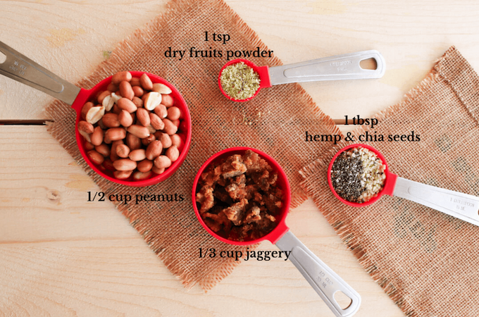 ingredients to make roasted peanut energy balls