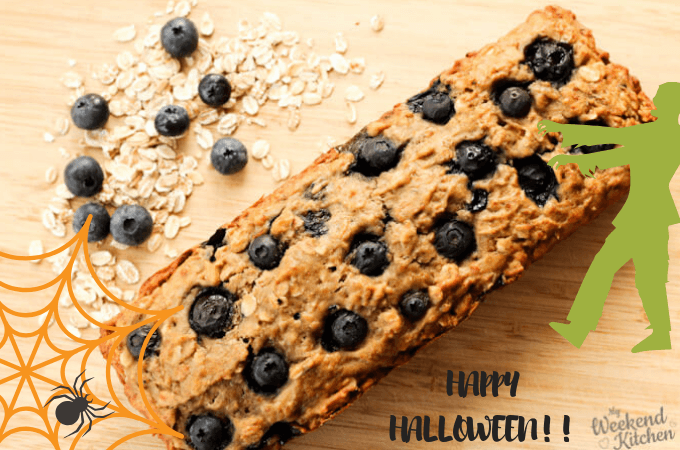 Blueberry banana bread for scary and delicious Halloween food