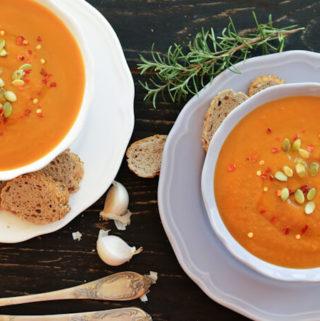 roasted butternut squash soup, vegan soup, fall soup recipes