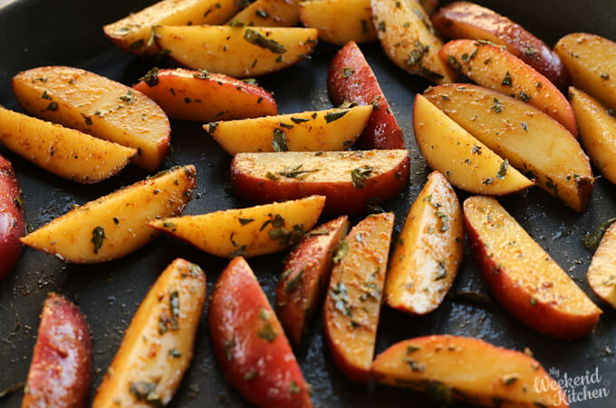homemade red potato wedges curry spiced,  easy cooking recipes for kids