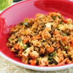 tofu indian recipes, tofu pulao, vegan tofu stir-fry with rice