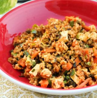 Vegan tofu stir fry with rice & veggies | Tofu Pulao