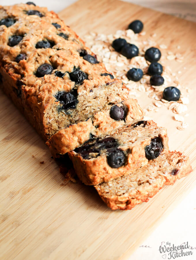 vegan blueberry banana bread with oats and whole wheat flour