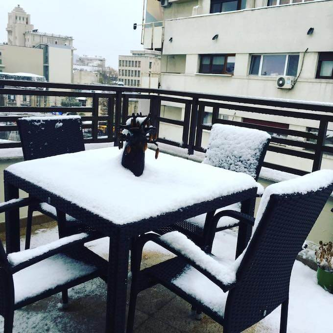 first snow in Bucharest, winter breakfast ideas
