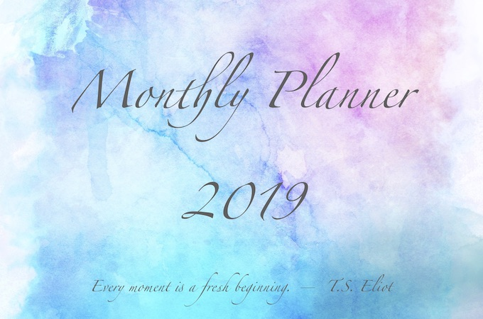 2019 monthly planner free download