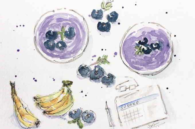 vegan blueberry and banana smoothie illustration