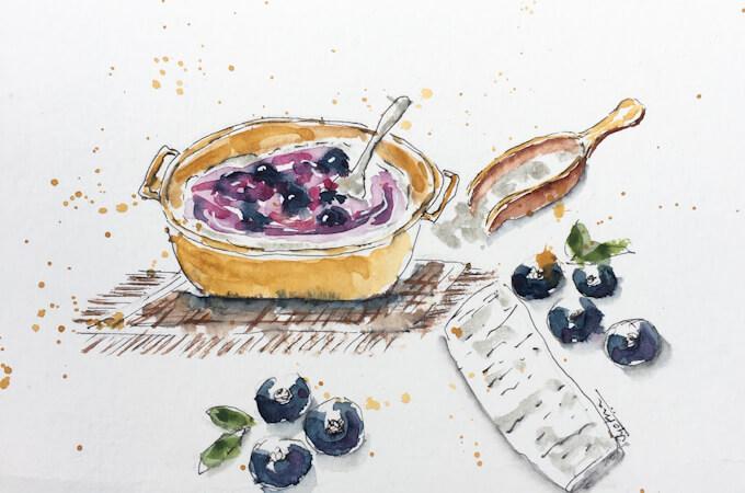 blueberry oatmeal illustration