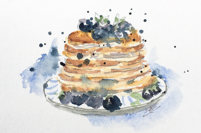 blueberry pancakes healthy illustration