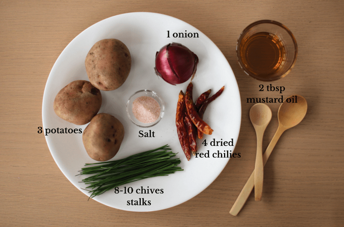 Ingredients for aloo kangmet, spicy Indian mashed potato