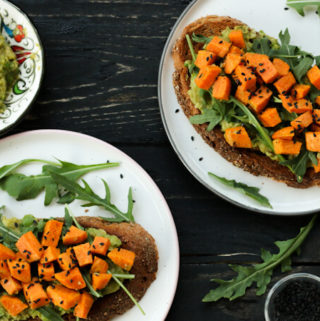 avocado toast with sweet potato topping, vegan avocado recipe