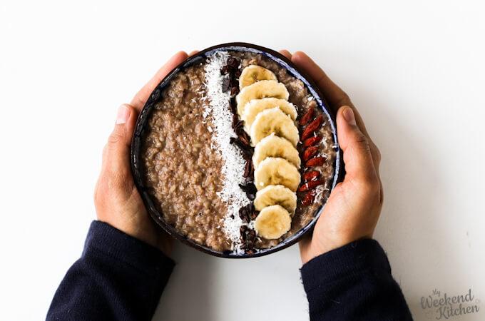 vegan banana and chocolate oatmeal recipe, banana porridge recipe