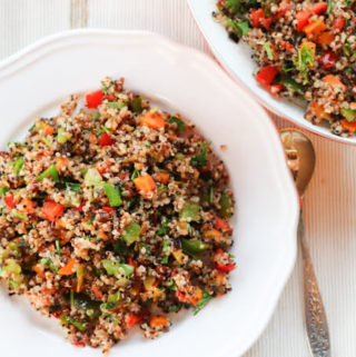 quinoa vegetable stir fry recipe, vegan and gluten free recipe