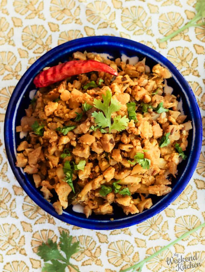 easy cauliflower scramble vegan, cauliflower recipes, gobhi bhurji