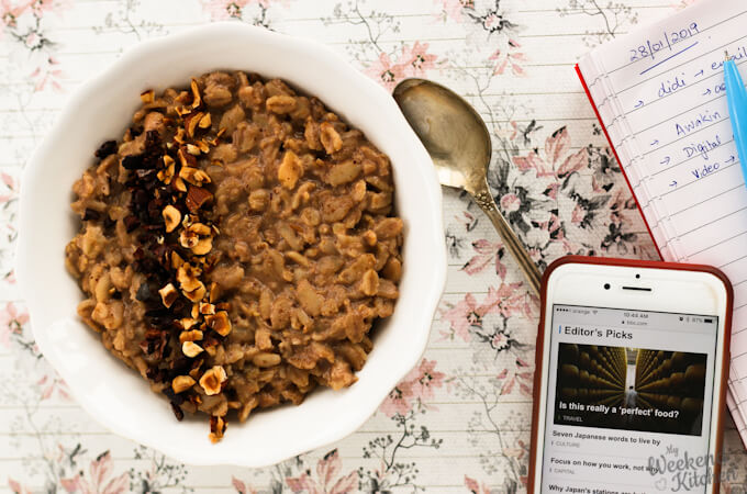 hazelnut chocolate oatmeal porridge