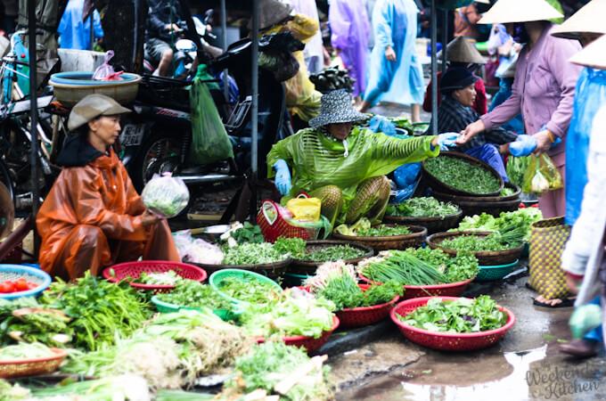 Vegetable Maret in Hanoi Vietnam, veg food in Vietnam