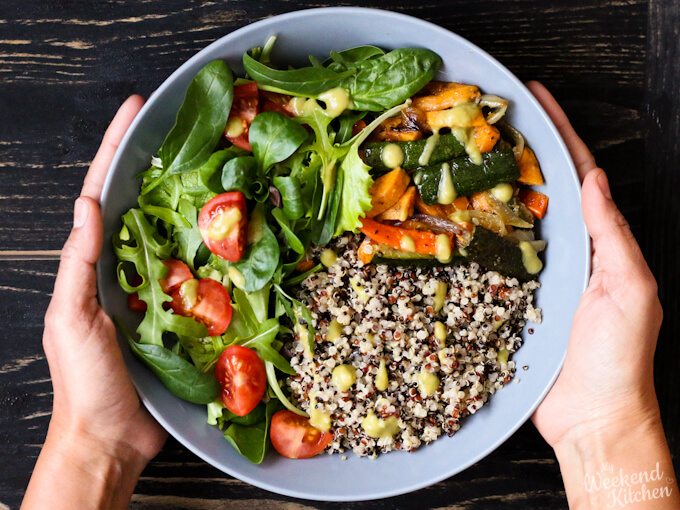 Quinoa buddha bowl, gluten-free and vegan recipes