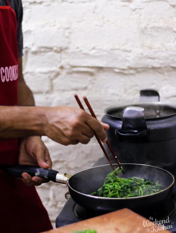 Vietnamese vegetarian food, cooking with chopsticks