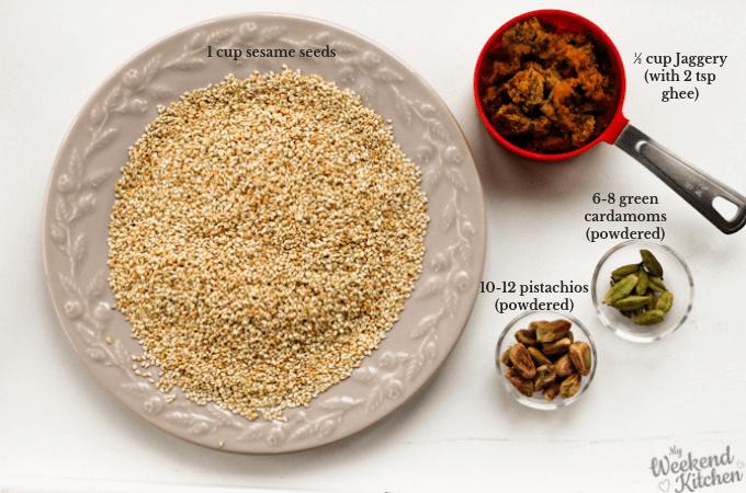 til gud laddu ingredients, how to make sweet sesame balls