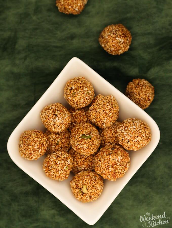 til ke laddu recipe from scratch, Indian sweet sesame balls